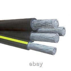 100' Earlham 4/0-4/0-4/0-4/0 Quadruplex Aluminum URD Direct Burial Wire 600V