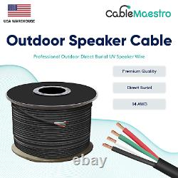 14AWG Speaker Cable Outdoor Direct Burial UV Wire Audio CL2 14/4 Gauge 250-500ft