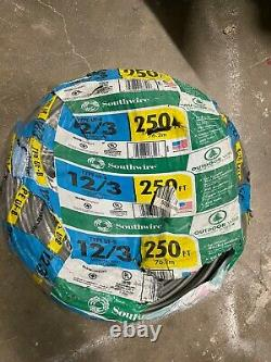 Romex 250ft 12-3 Gray AWG UF-B SOUTHWIRE Underground Direct Burial Wire QIK SHIP