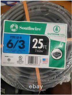 Southwire 25' 6-3 UF-B WithGROUND UNDERGROUND FEEDER DIRECT BURIAL WIRE/CABLE