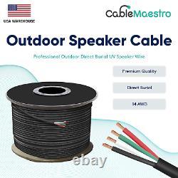 14awg Câble Haut-parleur Extérieur Direct Enterrement Fil Uv Audio Cl2 14/4 Gauge 250-500ft