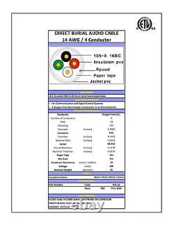 200'ft 14-awg Cuivre 4 Fils Direct Enterrement Câble De Haut-parleur Intérieur Audio 105-str