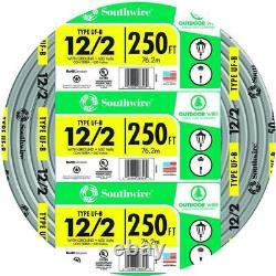 250 Ft. 12/2 Gris Solide Cu Uf-b Withg Copper Wire Outdoor Direct Enseveli 600 Volt